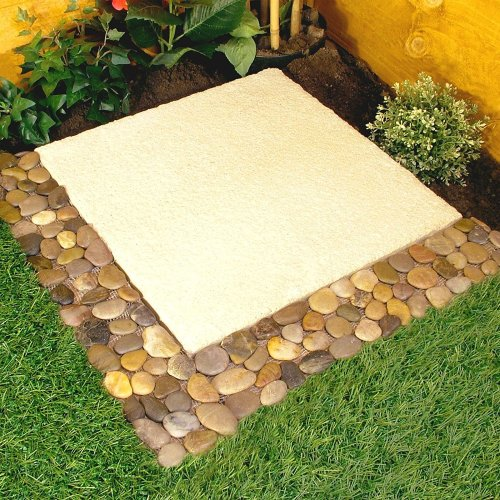 Great Ideas Garden Border Pebble Strips - Also for Tiled Bathroom / Kitchen - Pack of 4 Strips - Mesh Backed - No More Loose Stones To Sweep! Easy Fit