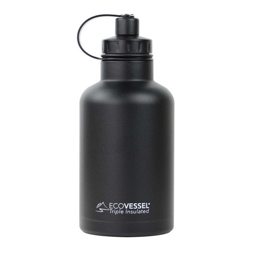Ecovessel Boss Growler 1900ml Hot Cold Drinks Water Bottle & Infuser Black Shadow