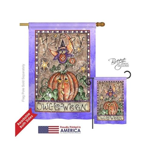 Breeze Decor 12064 Halloween Happy Owl Lo Ween 2-Sided Vertical Impression House Flag - 28 x 40 in.