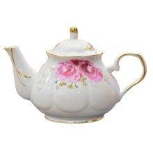 Loose Leaf Tea Pot Vintage Royal Style Red Floral