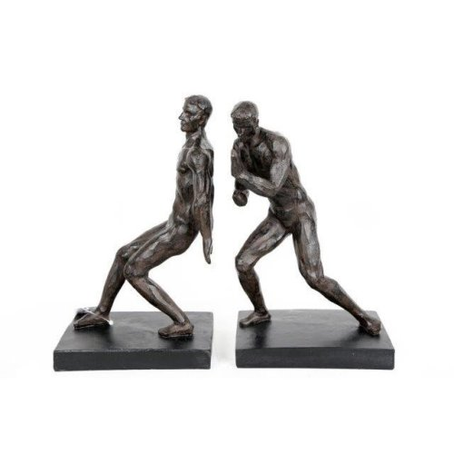 Men Pushing Figurine Statues Sculptures Book Ends Antique Black Classical Gift