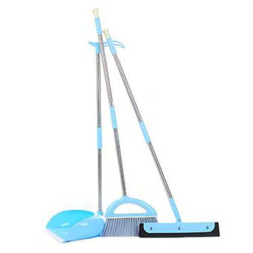Durable Removable Broom and Dustpan Standing Upright Grips Sweep Set with Long Handle, #A6