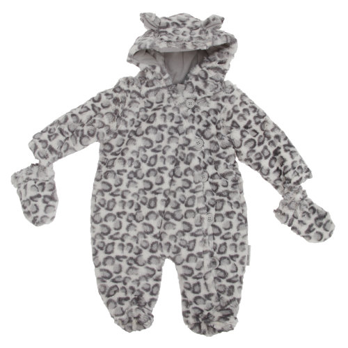 Baby Unisex Snow Leopard Button-Up All In One Hooded Winter Snowsuit