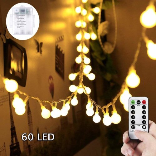 Globe String Lights - SUNNOW 60 LEDs 8 Modes Waterproof Battery Operated Fairy Lights,Ball Lights for Halloween Christmas Weddings Birthday Family...