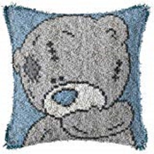 """Latch Hook Complete Cushion Cover Kit""""Grey Teddy on Blue""""43x43cm"""