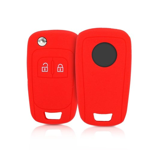 kwmobile Opel Car Key Cover - Silicone Protective Key Fob Cover for Opel 2 Button Car Flip Key - Red