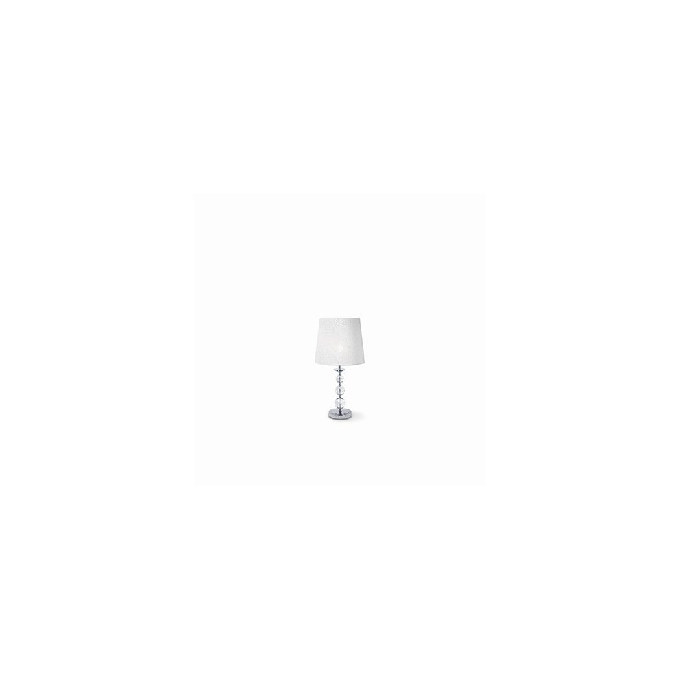 Ideal Lux Step Large Chrome Table Lamp With White Shade Idl026862 On