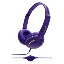 Groov-e Kids DJ Style Streetz Headphones with Volume Control - Violet (GV897/VT)