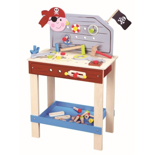 Outstanding Lelin Wood Wooden Pirate Tool Bench Pretend Role Play Toy Set Creativecarmelina Interior Chair Design Creativecarmelinacom