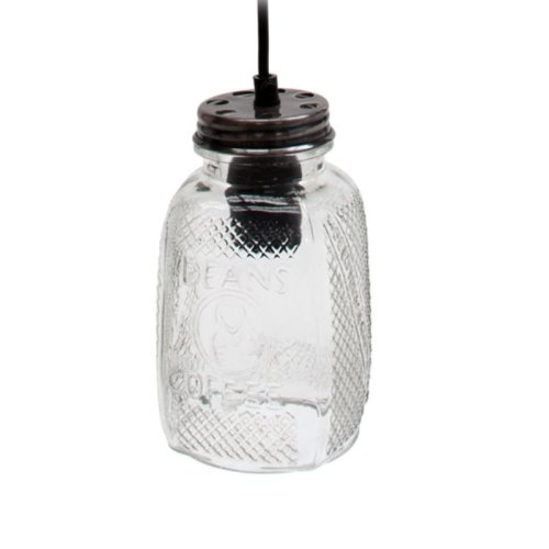 Recycled Glass Coffee Jar Pendant Light