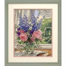 D35257 - Dimensions Counted X Stitch - Gold, Peonies & Delphiniums