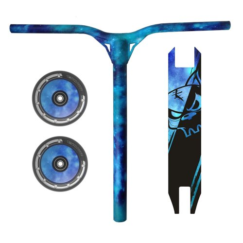 Combo Scooter Galaxy Blue Bars Handlebars + Grip Tape + Wheels 100mm