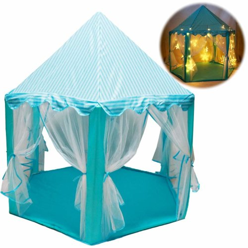 deAO Durable Princess Castle Play Tent with Large Star Lights Included – Great for Indoor & Outdoor Games for Kids (Blue)