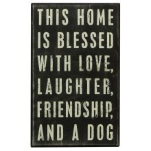 Primitives Box Sign -  Home Blessed With A Dog