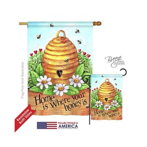 Breeze Decor 04083 Bee Hive Home 2-Sided Vertical Impression House Flag - 28 x 40 in.