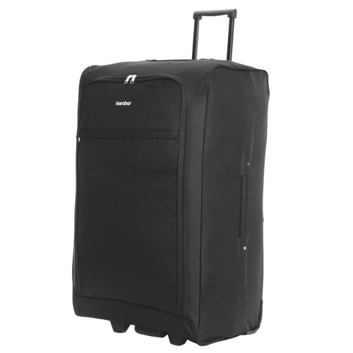 Karabar Alvik Super Light 2.5 kg Extra Large XL Ultra Lightweight Travel Check in Hold Luggage Trolley Case Suitcase Bag with 2 Wheels, Black