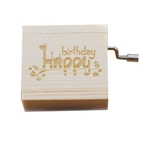 Mini Hand Crank Music Box Wooden Music Box Birthday Gift Height Approx 1.5 Inch