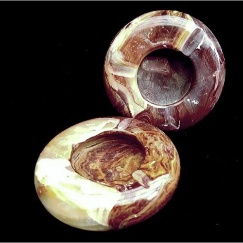 Pair of Onyx Marble Ashtrays Ornament