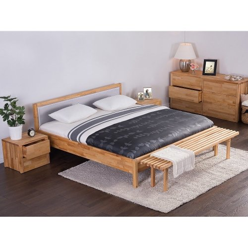 Wooden Bed -  Super King Size Grey - 6 ft  - incl. stable slatted frame - Upholstered Headboard - CARRIS