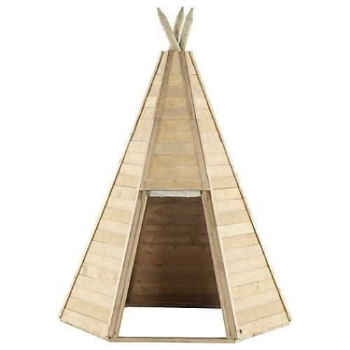 Play Tent Great Wooden Kids Teepee Hideaway Play Teepee Wooden Teepee For Kids With Fabric Door, Suitable For 3 Years +