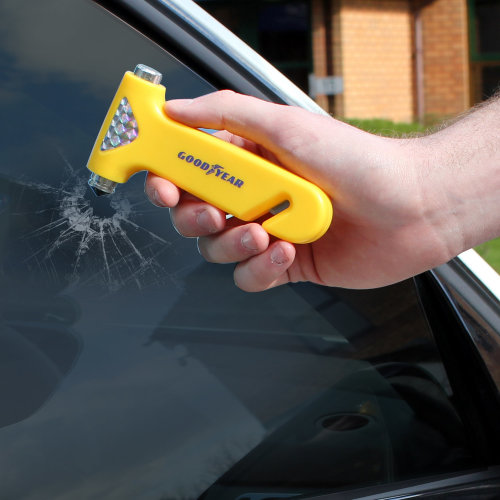 Goodyear Emergency Car/Van Windscreen Hammer, With Seat Belt Cutter & Holder SOS