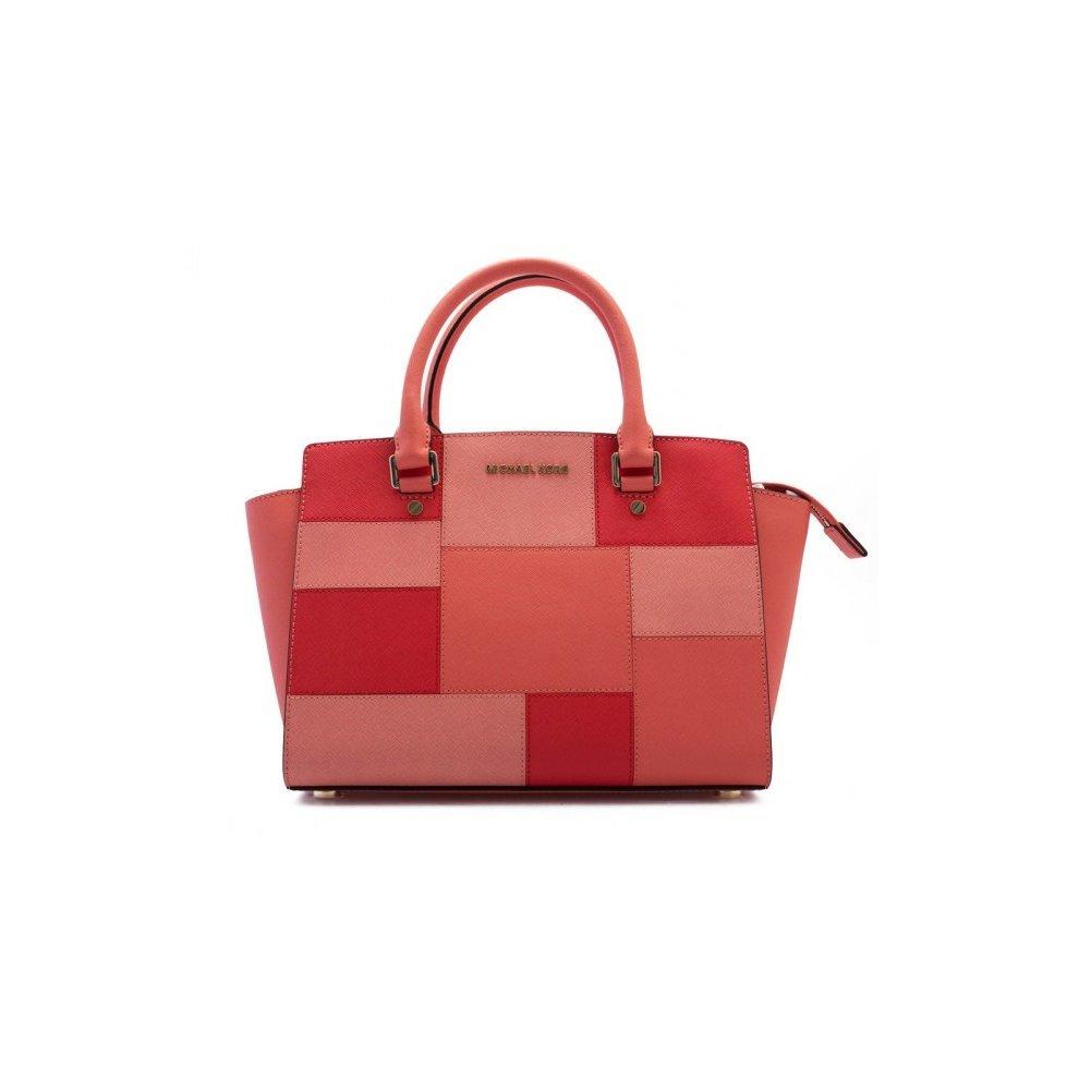 2c10dceebfda Michael Kors Selma Medium Top Zip Satchel Leather - Colorblock Pink  Grapefruit - 30S6GLMS2U-665. >