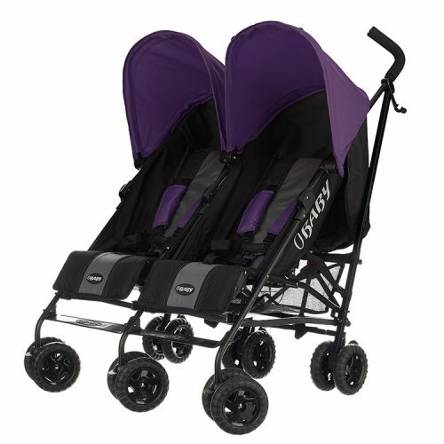 Obaby Twin Stroller Apollo - Black-grey (purple Hoods)