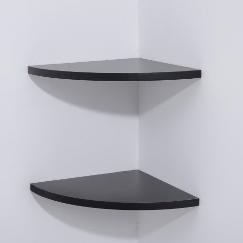 Homcom Set of 2 Wooden Corner Radial Shelf Display Rack Bookcase Furniture