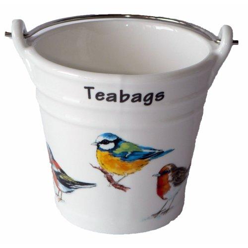 Garden Birds Design Bucket Teabag Tidy, Porcelain Bucket Teabag Tidy