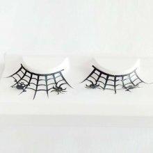 1 Pair Spider Art Paper Cutting False Eyelashes Skull Black Women's Halloween Party Makeup