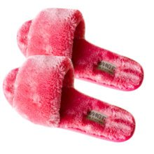 Pairs Womens Indoor Comfortable Soft Cotton Female Plush House Slipper Red
