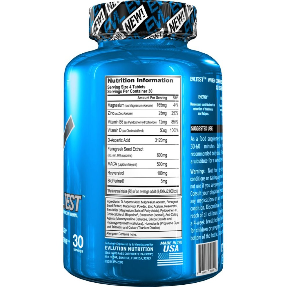 Evlution Nutrition Testosterone Booster Pills EVL Test Training & Recovery  Amplifier* (30 Servings) Supports Natural Testosterone Levels, Muscular
