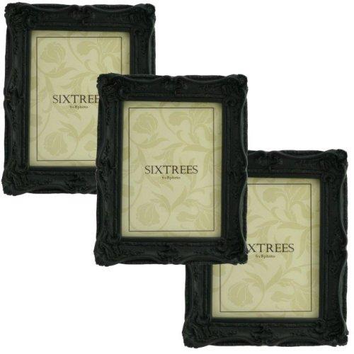 TRIPLEPACK Sixtrees Chelsea 5-253-68 Shabby Chic Very Ornate Matt Black 8x6 inch Photo Frames