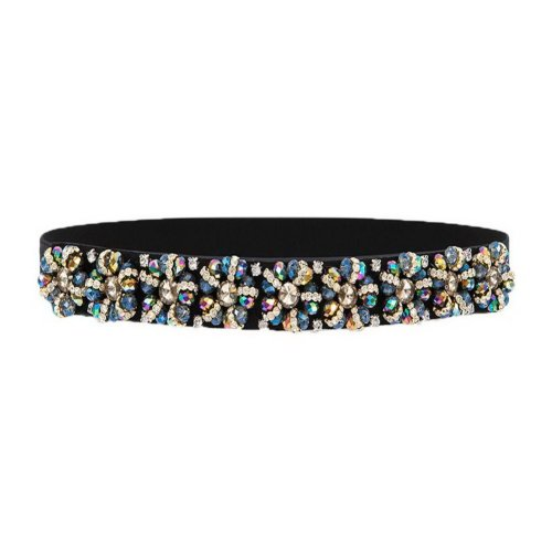 Waist Belts For Women Rhinestone Elastic Waistband Decorative Fashion,F