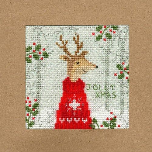 Bothy Threads Cross Stitch Kit - Christmas cards :   Xmas Deer XMAS12