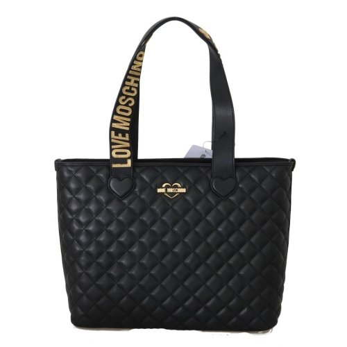 Moschino Black Quilted Faux Leather Tote Bag