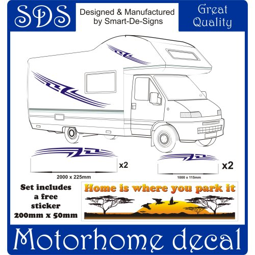 MOTORHOME VINYL GRAPHICS STICKERS DECALS SET CAMPER VAN RV CARAVAN ANY COLR set 11