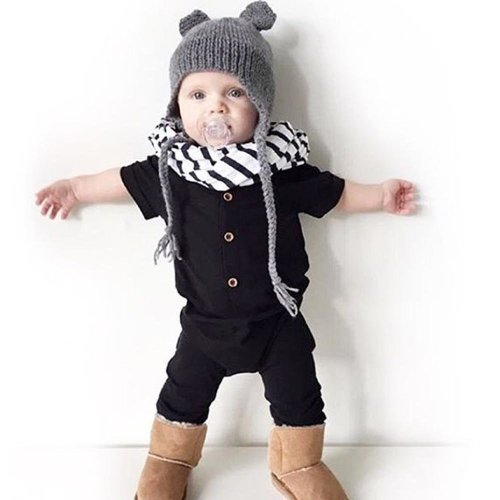 2017 NEW Newborn Infant Kids Baby Boy Girls Cotton Button Short Sleeve Bodysuit Jumpsuit Playsuits Clothes Set Outfits 0-24M