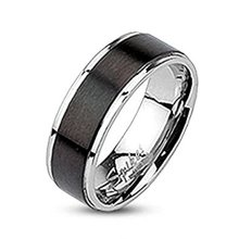Brushed Black Plated Centered Band Surgical Steel 7mm Width Band Ring