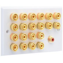 White 10.1 Speaker Wall Plate - 20 Terminals + RCA - Rear Solder tab Connections