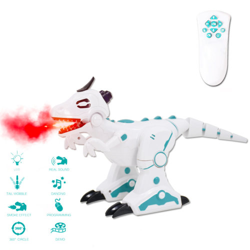 deAO RC Intelligent Dinosaur Robot with Smoke Efect Lights and Sounds Infrared Remote Control Electronic T-Rex Toy (White)