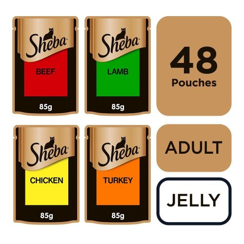 SHEBA Fine Flakes Cat Pouches Succulent Collection in Jelly 12x85g (Pack of 4)