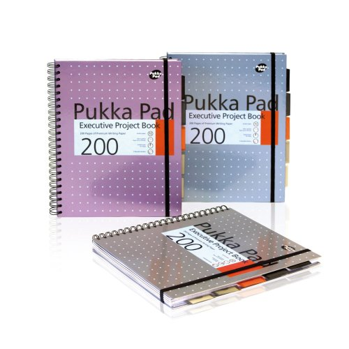Pukka Pad, 6970-MET Metallic Executive Project Book A4, Silver / Pink / Blue  Pack of 3