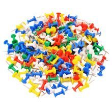 200-Count,Office/Map Pushpins,Plastic Head, Steel Point, Assorted Colors