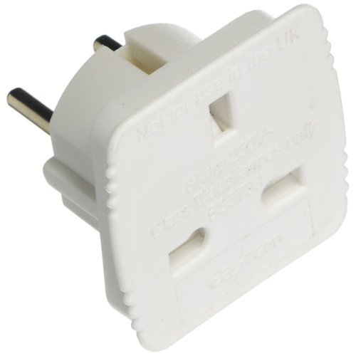 Smart Tech Pro Travel Adapter Converts UK Plug to 2 pin (Round) EU European, France, Germany, Spain, [WHITE]