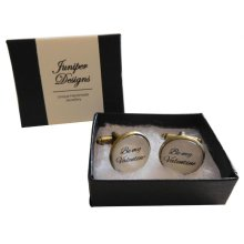 "Handcrafted ""Be my Valentine"" Cuff links - Excellent Valentine's Day gift"