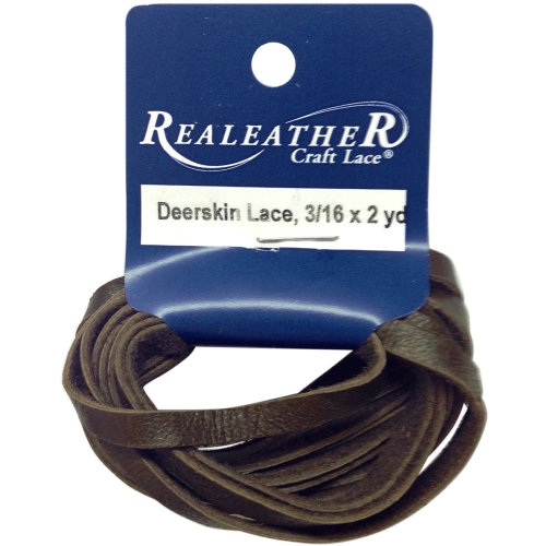 """Realeather Crafts Deerskin Lace .1875""""X2yd Packaged-Chocolate"""