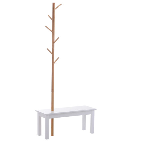HOMCOM Bamboo Coat Rack with Shoe Bench Hats Bags Scarves Hanger Tree 6 Hooks for Entryway Hallway Office Bedroom Living Room Foyer