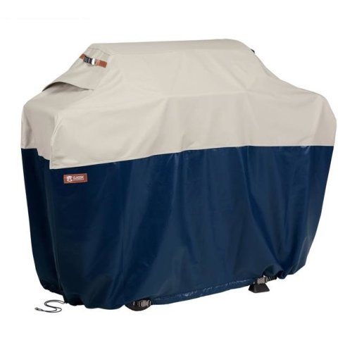 Classic Accessories 56-066-044601-EC 64 in. Mainland Patio BBQ Grill Cover, Fog & Navy - Large