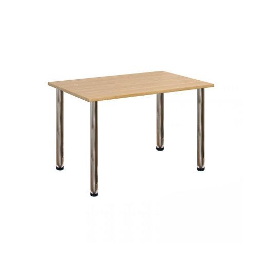 Computer Desk Office Dining Table Workstation Br Chrome Legs Oak Top 120x80cm